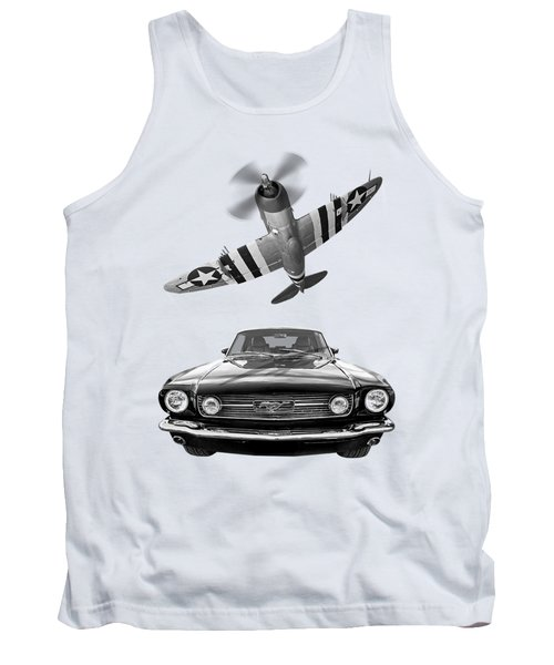 Fly Past - 1966 Mustang With P47 Thunderbolt In Black And White Tank Top