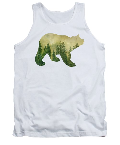 Forest Black Bear Silhouette Tank Top
