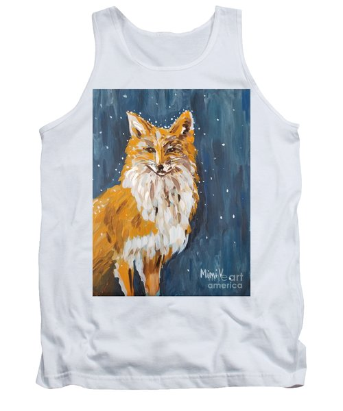 Tank Top featuring the painting Fox Winter Night by Maria Langgle