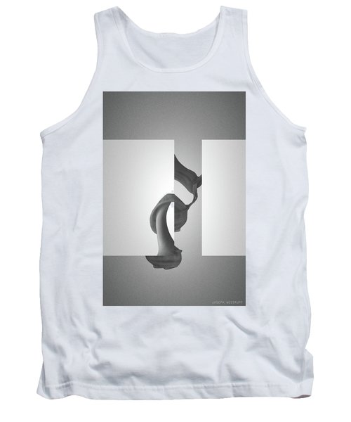 Fugue Mechanics In Black - Surreal Abstract Seashell And Rectangles Tank Top