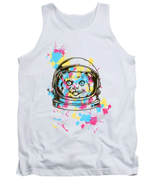 Funny Colorful Cat Astronaut Tank Top
