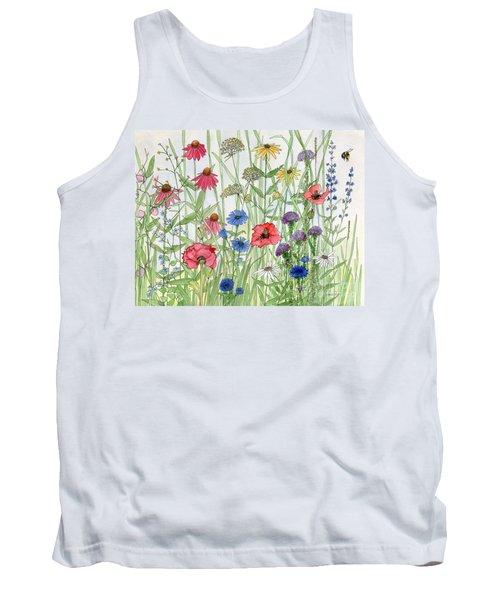 Garden Flower Medley Watercolor Tank Top