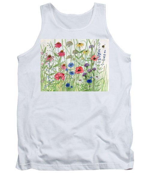 Garden Flower Medley Watercolor Tank Top