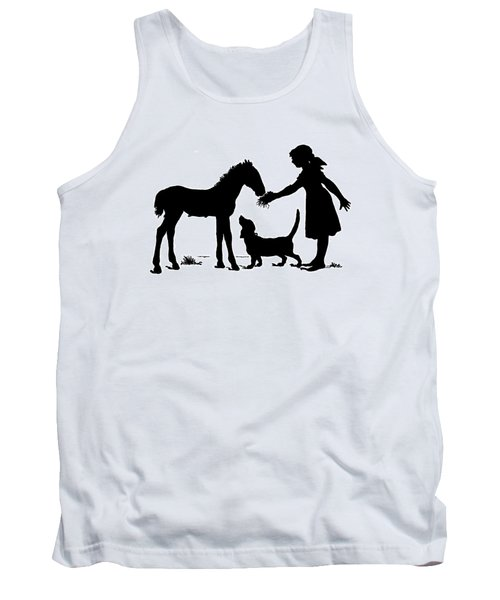 Girl With Dog And A Foal  Silhouette By Paul Konewka Tank Top