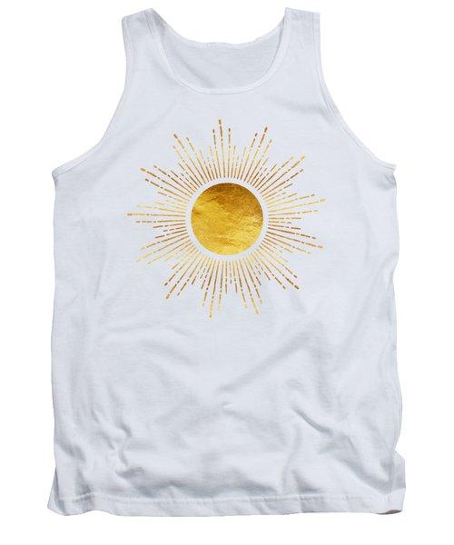 Golden Sunburst Abstract Starburst White Hot Tank Top