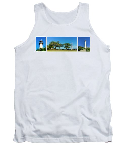 Grand Old Lighthouse Biloxi Ms Collage A1e Tank Top