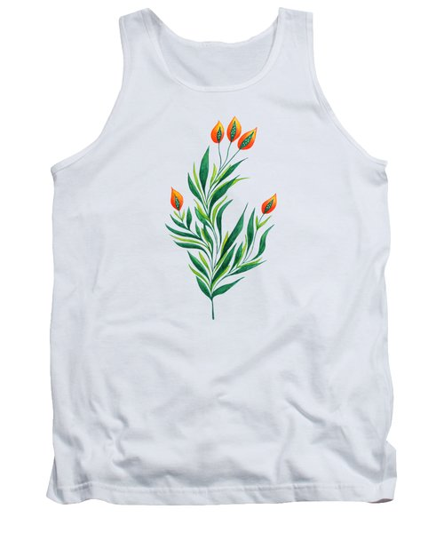 Green Plant With Orange Buds Tank Top