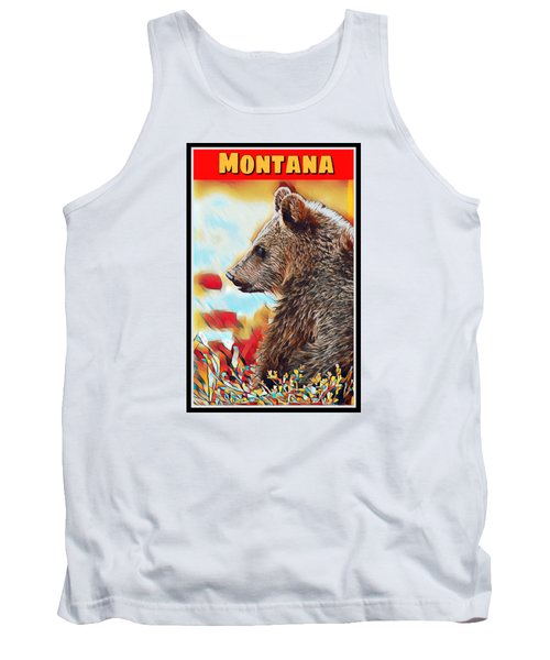 Grizzly Bear Art Montana Wildlife Travel Poster Tank Top