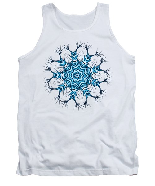 Hairy Snowflake Mandala In Blue Tank Top