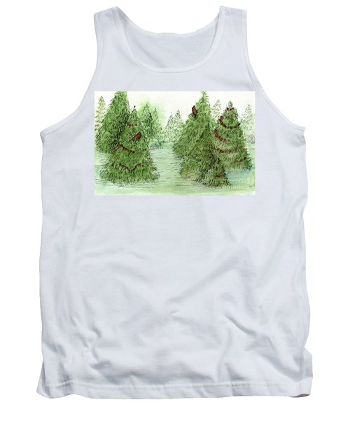 Holiday Trees Woodland Landscape Illustration Tank Top