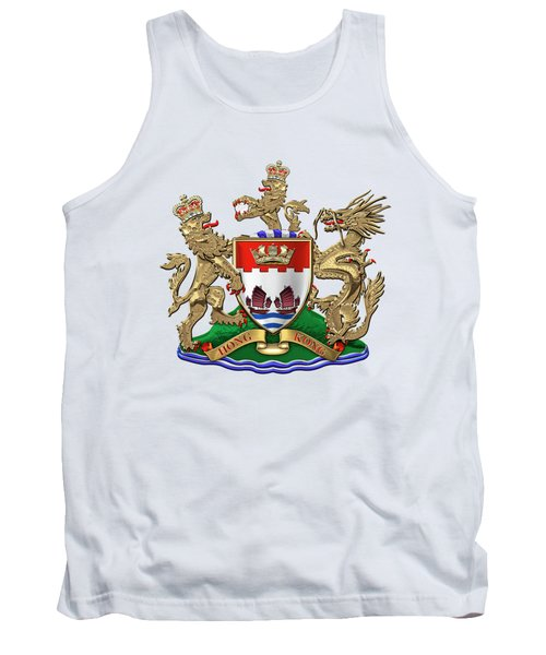 Hong Kong - 1959-1997 Coat Of Arms Over White Leather  Tank Top