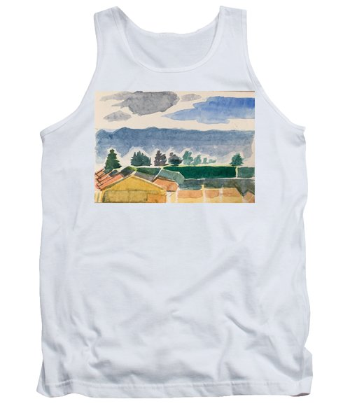 Houses, Trees, Mountains, Clouds Tank Top