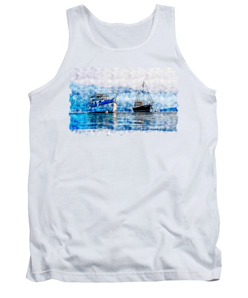 Ice Oasis Watercolor Drawing  Tank Top