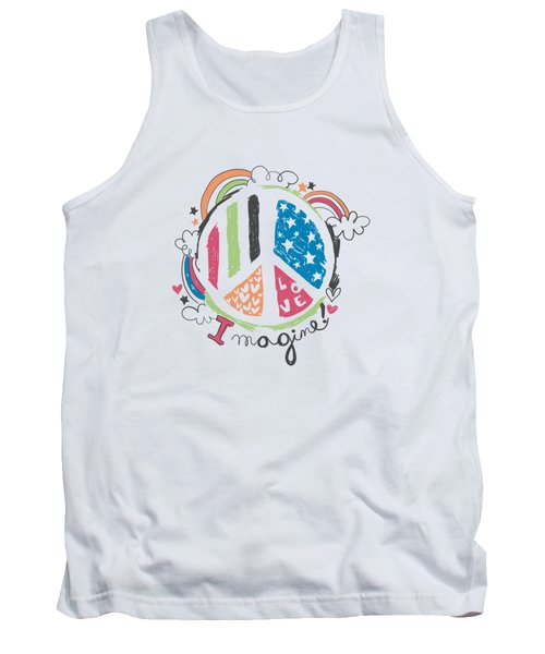 Imagine Love And Peace - Baby Room Nursery Art Poster Print Tank Top
