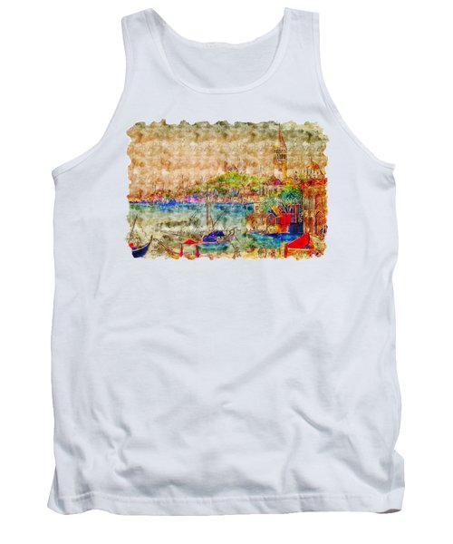 Impressionist Watercolor Drawing - Istanbul Tank Top