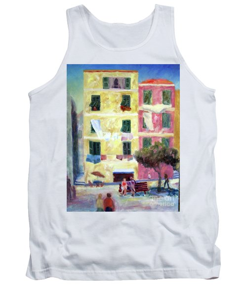 Italian Piazza With Laundry Tank Top