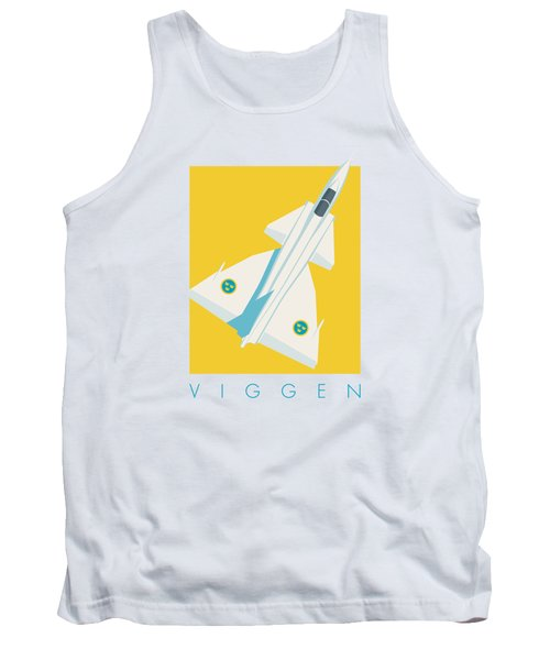 J37 Viggen Swedish Air Force Fighter Jet Aircraft - Yellow Tank Top