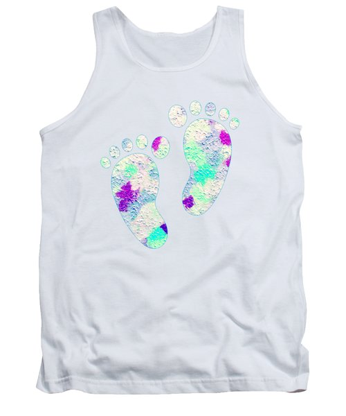Little Feet Prints For Kids In Pinks And Blues Tank Top