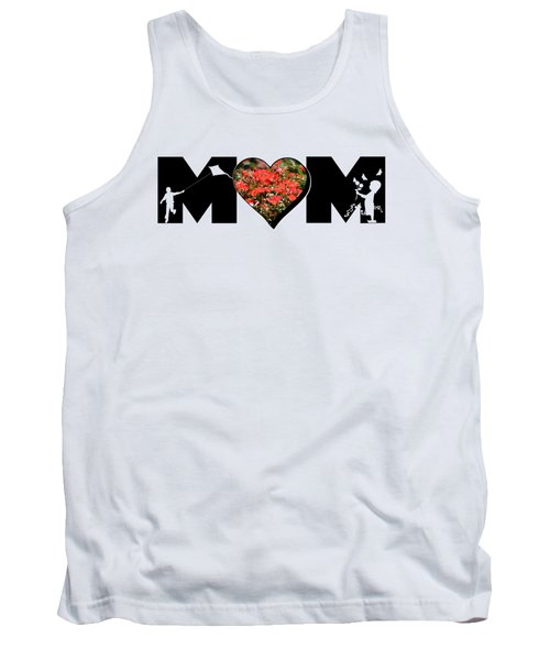 Little Girl And Boy Silhouette In Mom Big Letter With Cluster Of Red Roses In Heart Tank Top