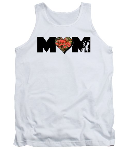 Little Girl Silhouette In Mom Big Letter With Cluster Of Red Roses In Heart Tank Top