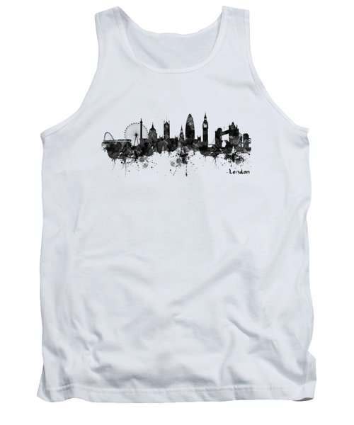 London Black And White Watercolor Skyline Silhouette Tank Top