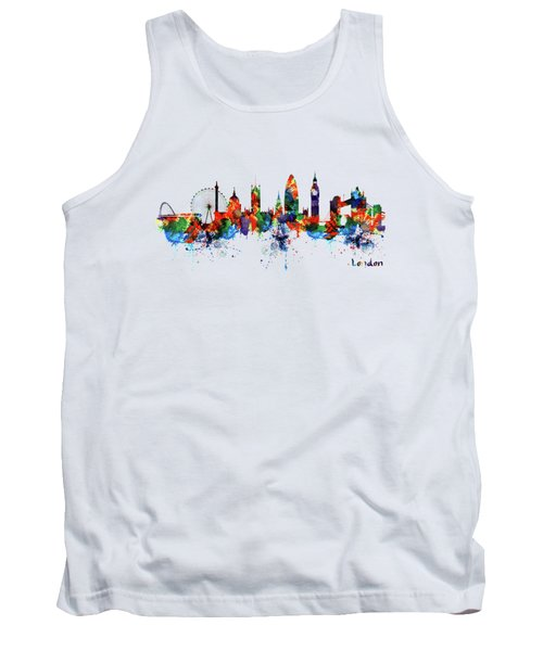 London Watercolor Skyline Silhouette Tank Top