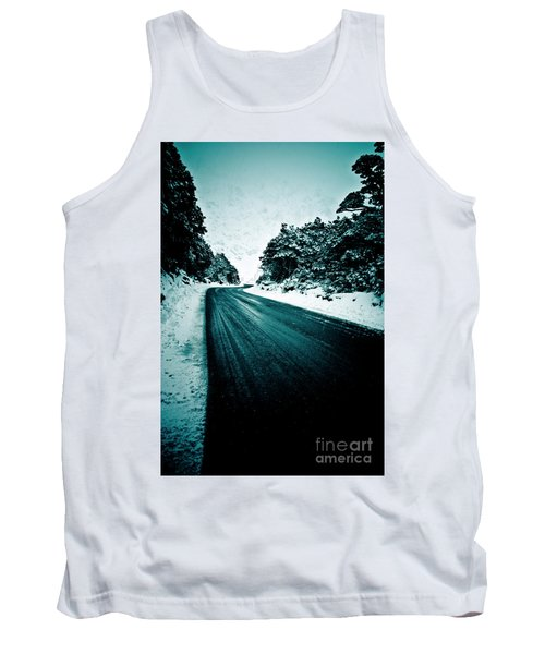 Lonely Road In The Countryside For A Car Trip And Disconnect From Stress Tank Top