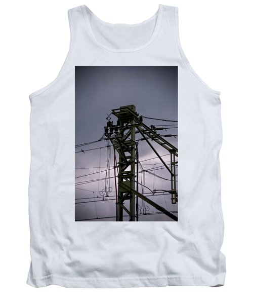 Tank Top featuring the photograph Mast Overhead Line Rail. by Anjo Ten Kate