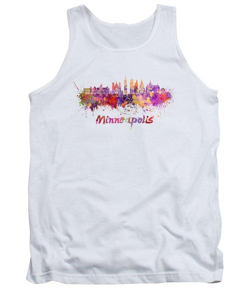 Minneapolis V2 Skyline In Watercolor Splatters Tank Top