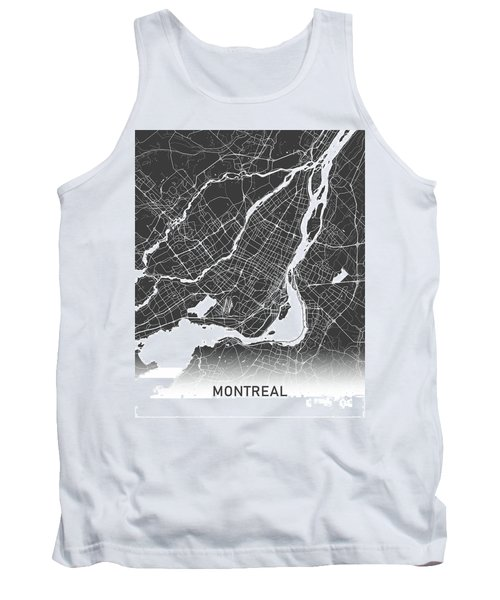 Montreal Map Black And White Tank Top