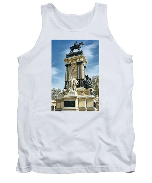 Monument To King Alfonso Xii At Retiro Park In Madrid, Spain Tank Top