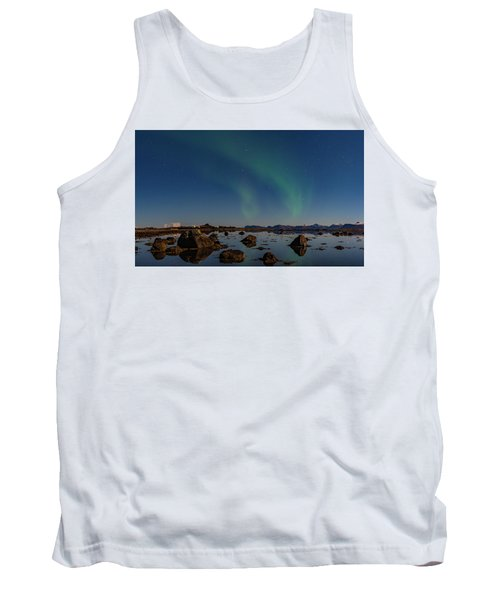Northern Lights Over A Swamp  Tank Top