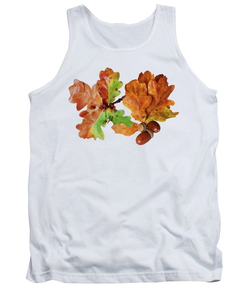 Oak Leaves And Acorns On White Tank Top