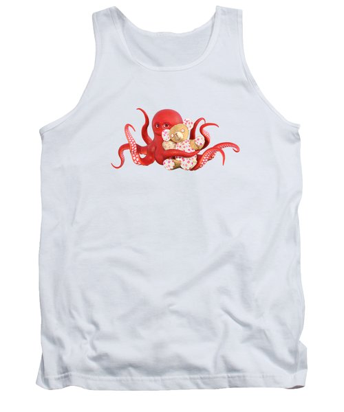 Octopus Red With Bear Tank Top
