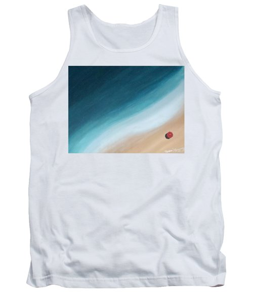 Pacific Ocean And Red Umbrella Tank Top
