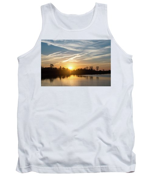 Painted By Airplanes - Stripes And Brushstrokes Daybreak Sky Tank Top