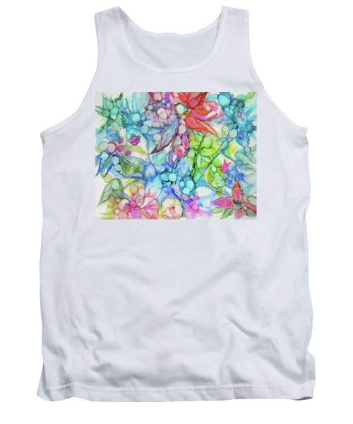 Pastel Flowers - Alcohol Ink Tank Top