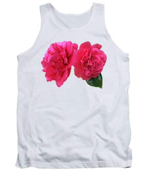 Pink Camellias On White Tank Top