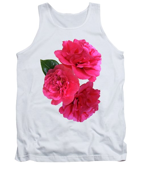 Pink Camellias On White Vertical Tank Top