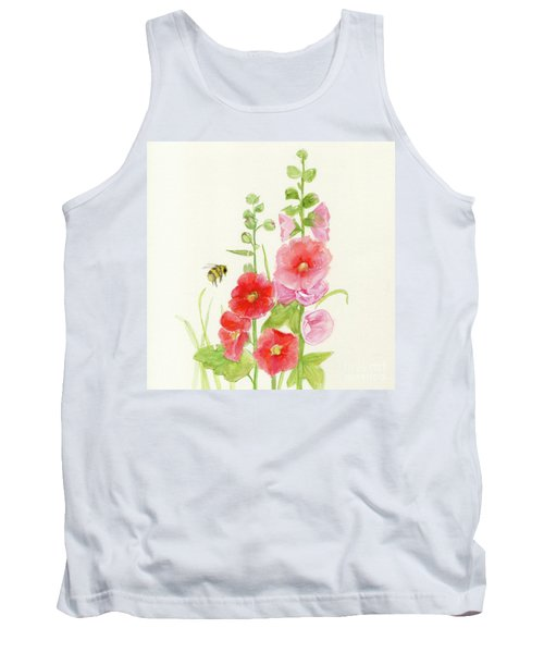 Pink Hollyhock Watercolor Tank Top