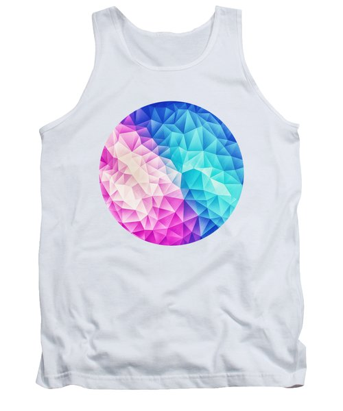 Pink Ice Blue  Abstract Polygon Crystal Cubism Low Poly Triangle Design Tank Top