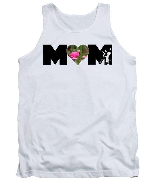 Pink Ranunculus In Heart Mom Big Letter-girls Tank Top