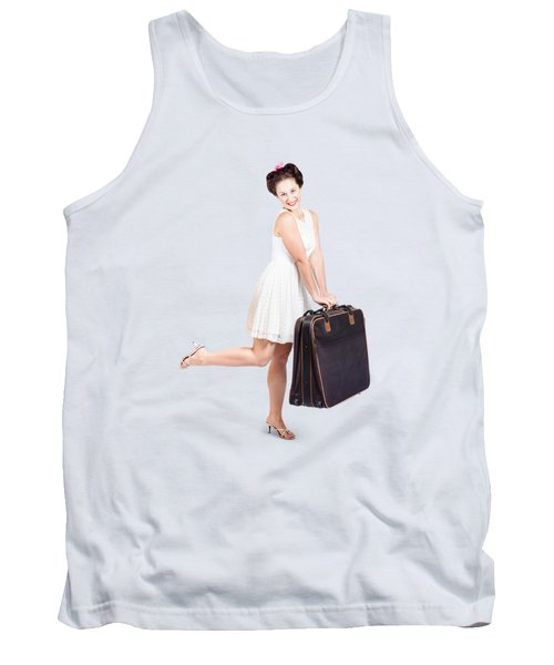 Pinup Model Doing A Hop And Skip With Travel Case Tank Top