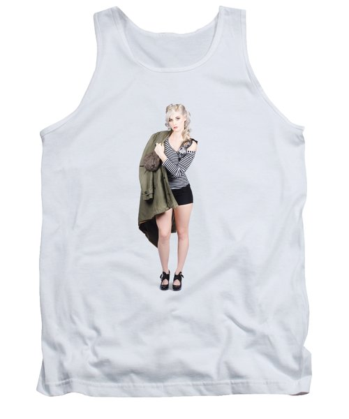 Pretty Pin-up Aviator Girl Isolated On Green Tank Top