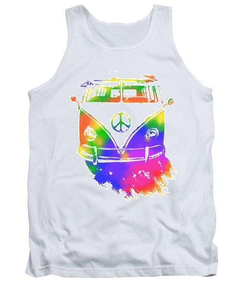 Rainbow Colored Peace Bus Tank Top