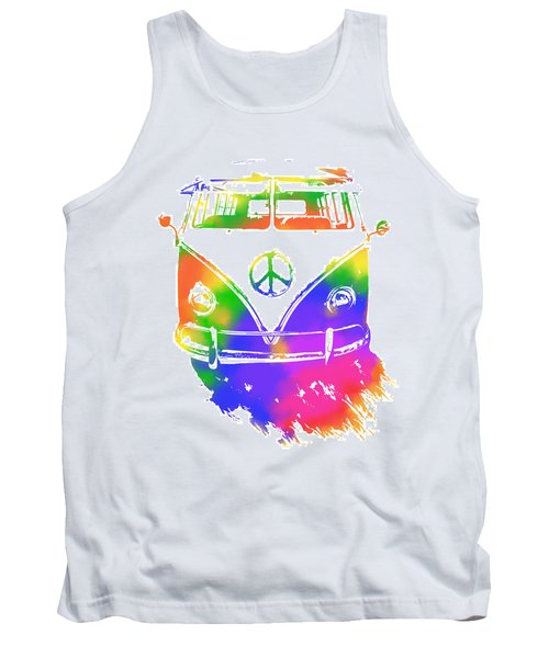 Rainbow Colored Peace Bus Tank Top