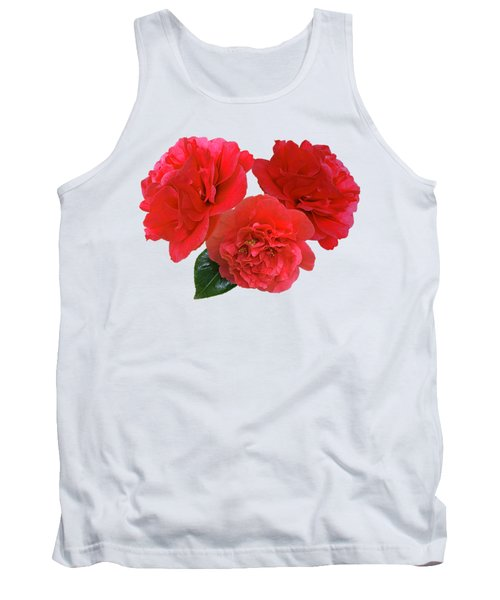 Red Camellias On White Tank Top