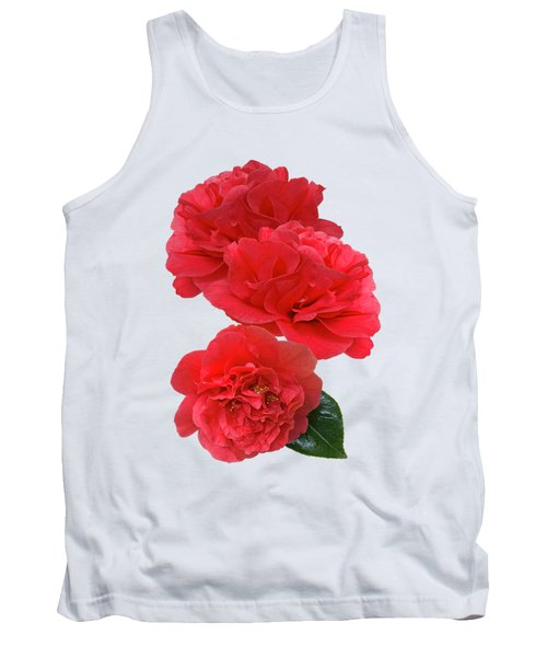 Red Camellias On White Vertical Tank Top