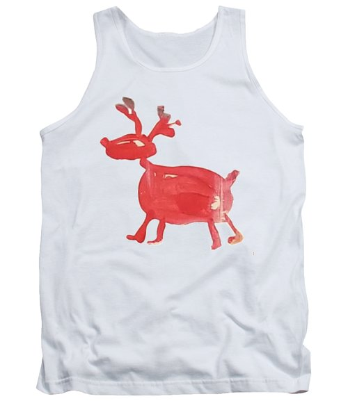 Tank Top featuring the painting Red Reindeer by Maria Langgle