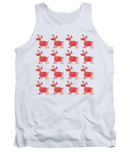 Red Reindeer Pattern Tank Top